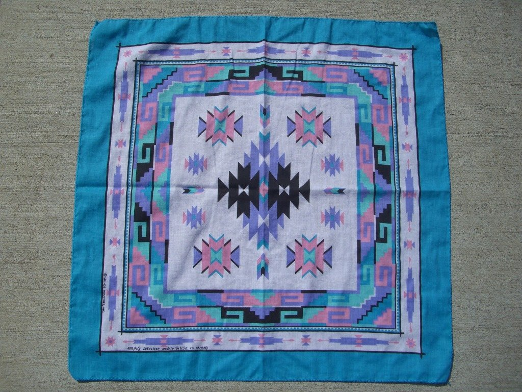 90s pink and blue southwestern bandanna