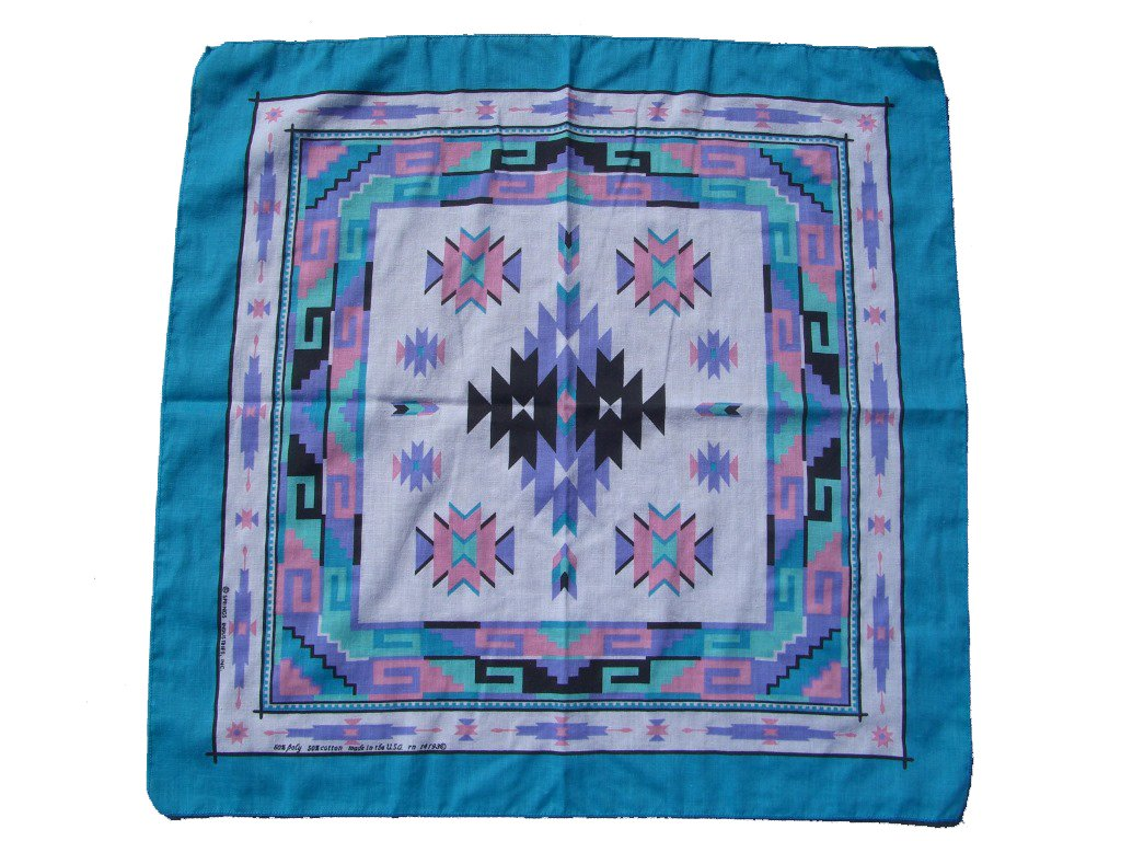 90s Pink and Blue Southwestern Style Bandanna