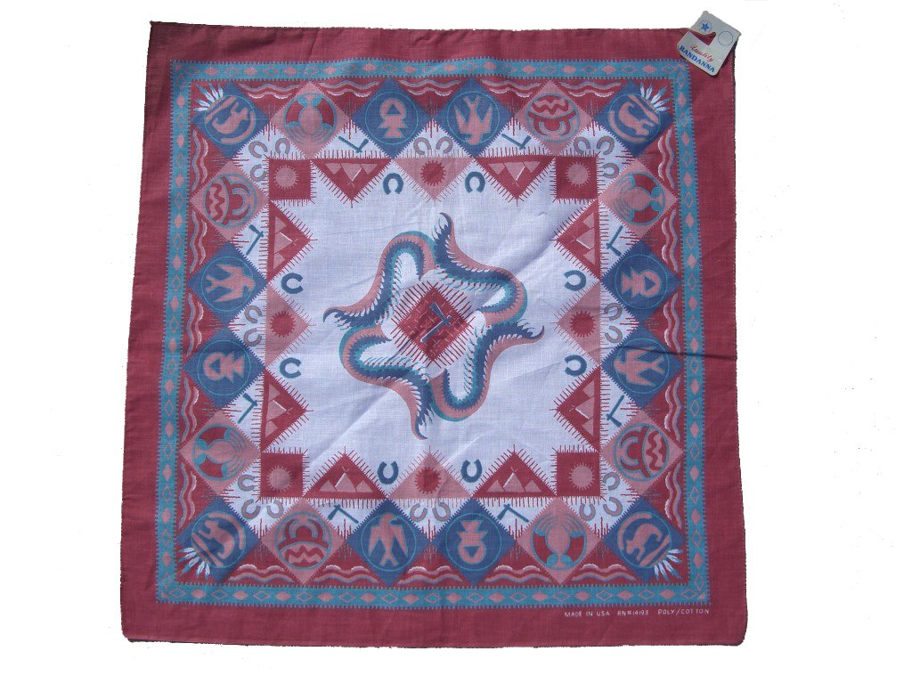 90s Red and Green Southwestern Bandana