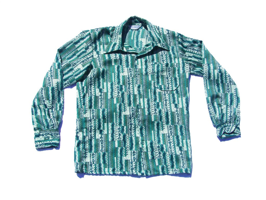 70s Green Vine Multi-Pattern Button Up Shirt