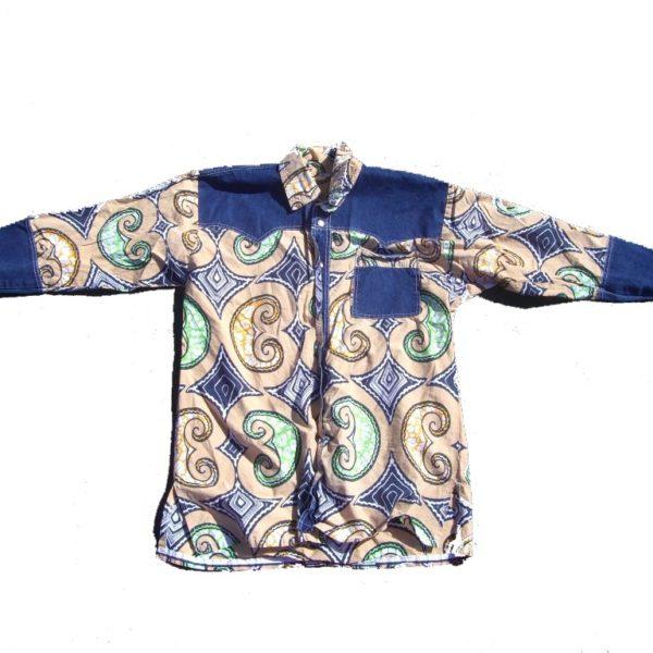 70s Vintage Denim & Swirls Western Snap Button Shirt