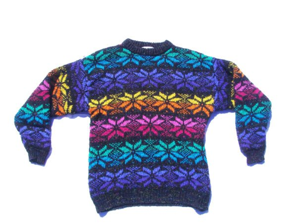 90s Bright Rainbow Snowflake Sweater