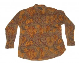 70s Style Ike Behar Floral Coat of Arms Button Up Shirt