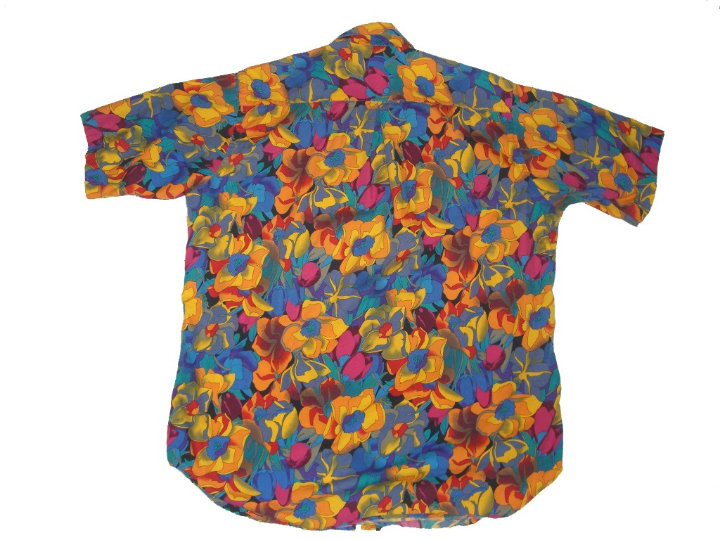 Bright 90s Paul Fredrick Floral Hawaiian Shirt Back