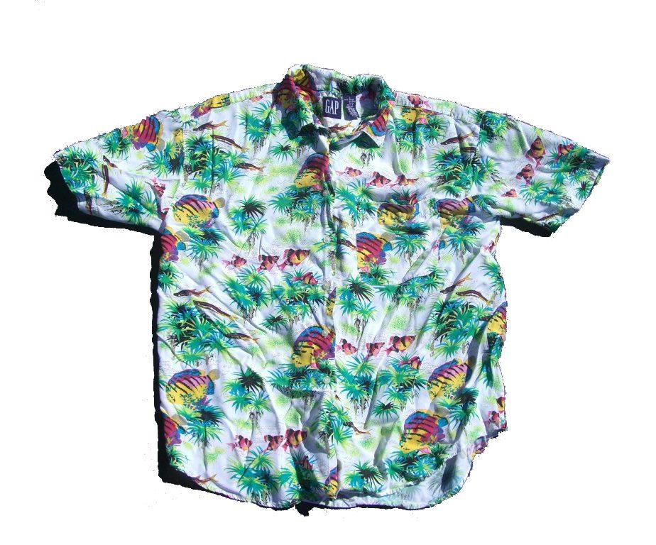 Gap neon fish hawaiian shirt 90s vintage for Fish hawaiian shirt