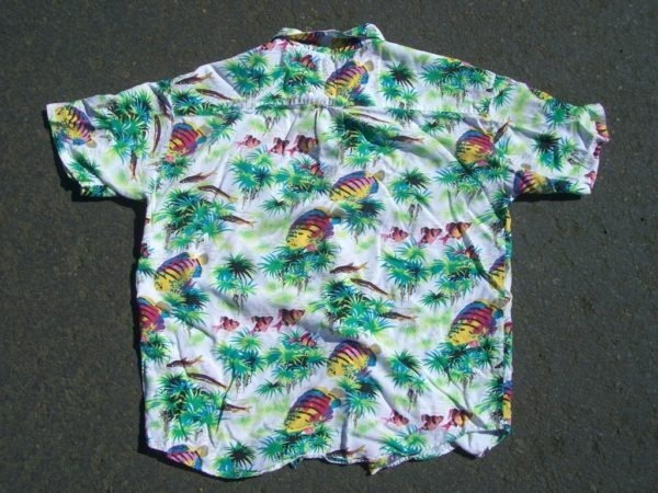 GAP Neon Fish Hawaiian Shirt back