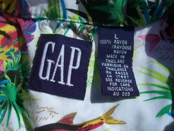 GAP Neon Fish Hawaiian Shirt Tag