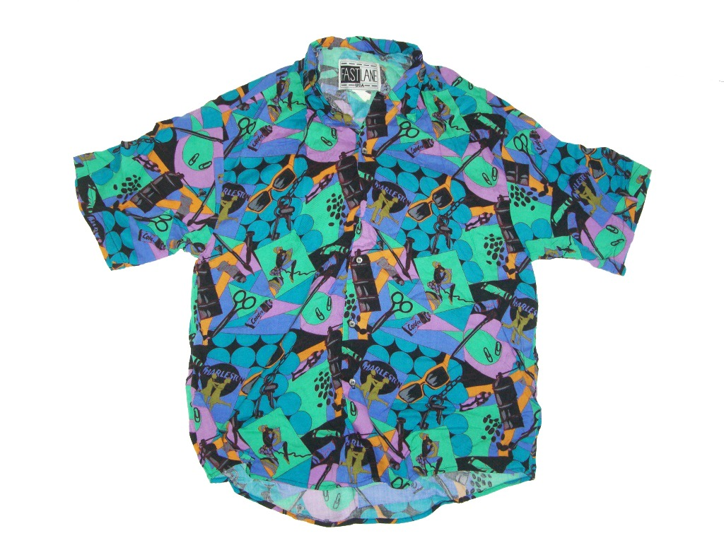 Totally 90s Fast Lane USA Short Sleeve Button Up