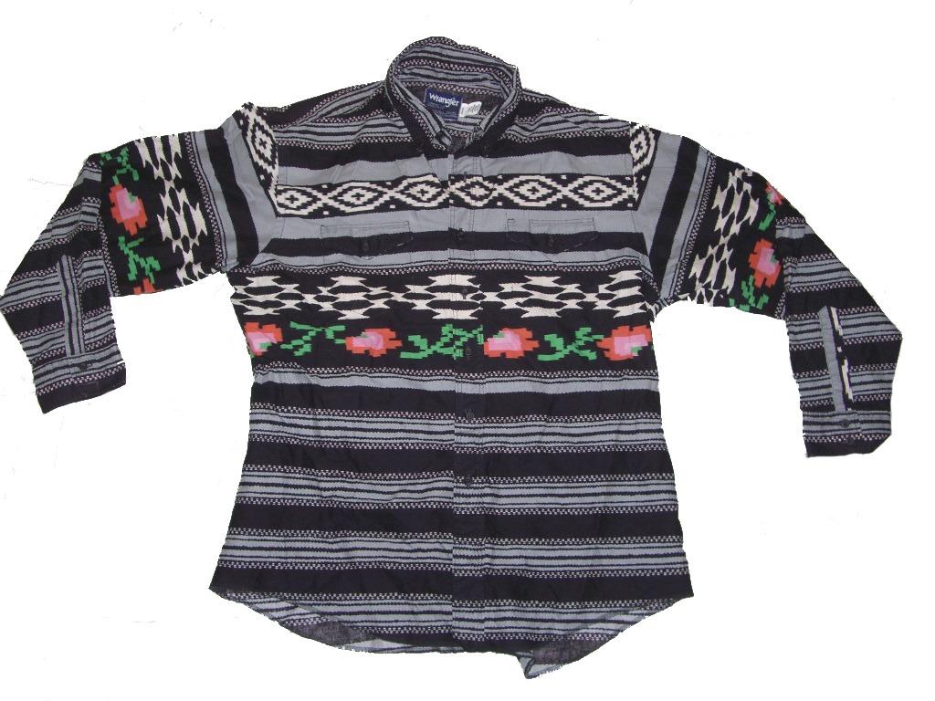 6f080c20 Digital Roses Pixelated Wrangler Western Cowboy Shirt | 90s Vintage